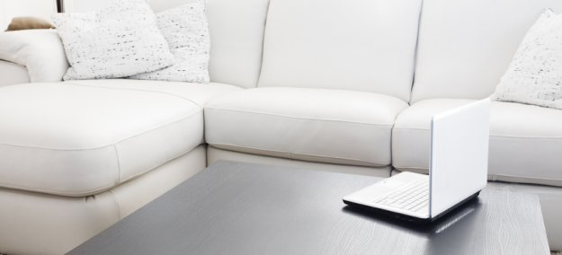 Upholstered couch with computer